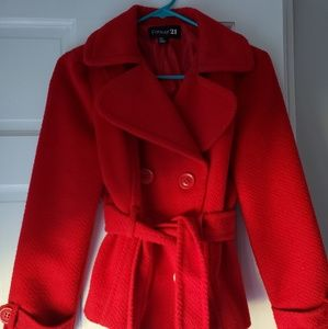 Red Winter Peacoat